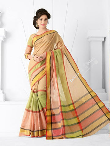 Trendy Cotton Silk Saree in Light Pink/ Peach and golden - Boutique4India Inc.