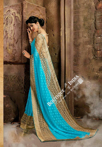 Sarees - Net and Chiffon with Light Blue and Golden - Boutique4India Inc.