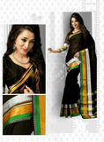 Cotton Silk Casual Saree in Black , Golden and Green - Boutique4India Inc.