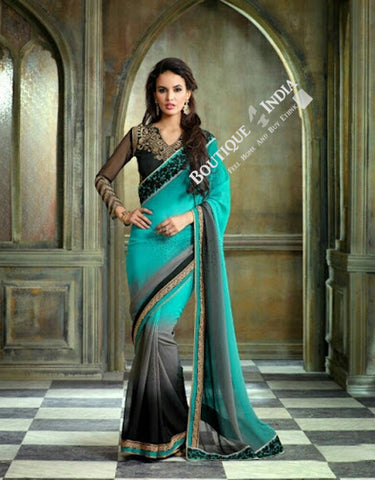 Sarees - Blue Grey Black And Golden Net and Chiffon - Boutique4India Inc.