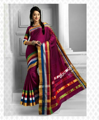 Cotton Silk Casual Saree in Purplish Pink, Golden - Boutique4India Inc.