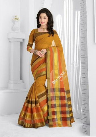 Trendy Cotton Silk Saree in Mustard and golden - Boutique4India Inc.