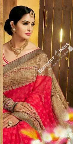Sarees - Net and Chiffon with Pink and Golden Color - Boutique4India Inc.