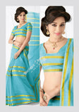 Trendy Cotton Silk Saree in Blue and golden - Boutique4India Inc.