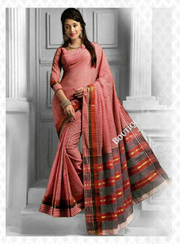Cotton Silk Casual Saree in Orange Pink / Peach and Golden - Boutique4India Inc.