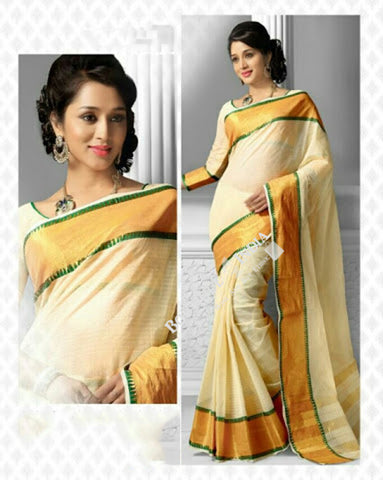 Cotton Silk Casual Saree in Half white and Golden - Boutique4India Inc.