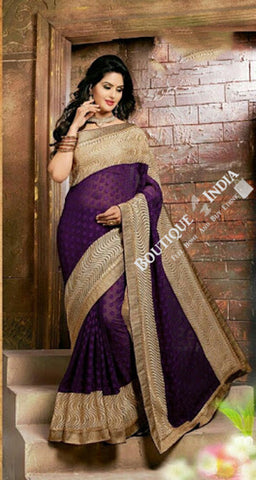 Sarees - Net and Chiffon with Purple and Golden Color - Boutique4India Inc.