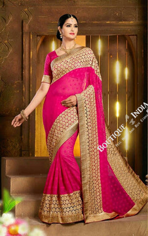 Sarees - Net and Chiffon with Hot Pink Color - Boutique4India Inc.