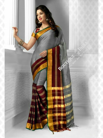 Cotton Silk Casual Saree in Grey and Golden - Boutique4India Inc.