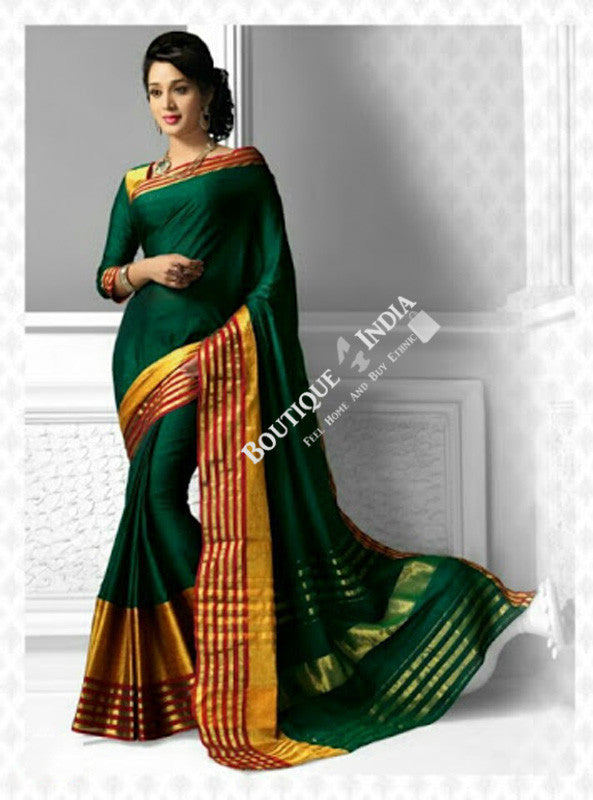 Cotton Silk Casual Saree in Green and Golden - Boutique4India Inc.