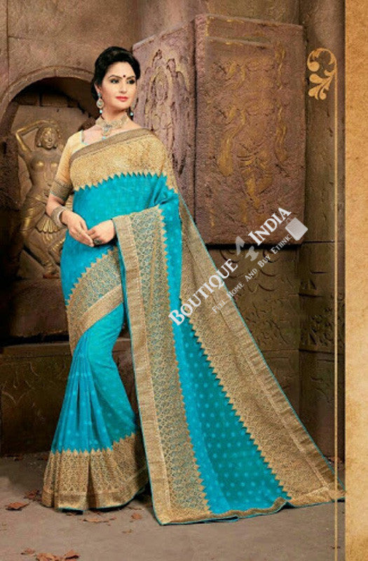 Sarees - Net and Chiffon with Sky Blue and Golden Color - Boutique4India Inc.