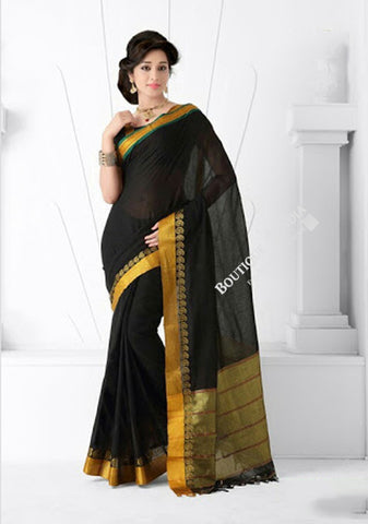 Trendy Cotton Silk Saree in Black and Golden - Boutique4India Inc.