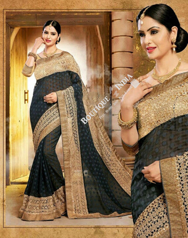 Sarees - Black Net and Embroided and Jari Work - Boutique4India Inc.