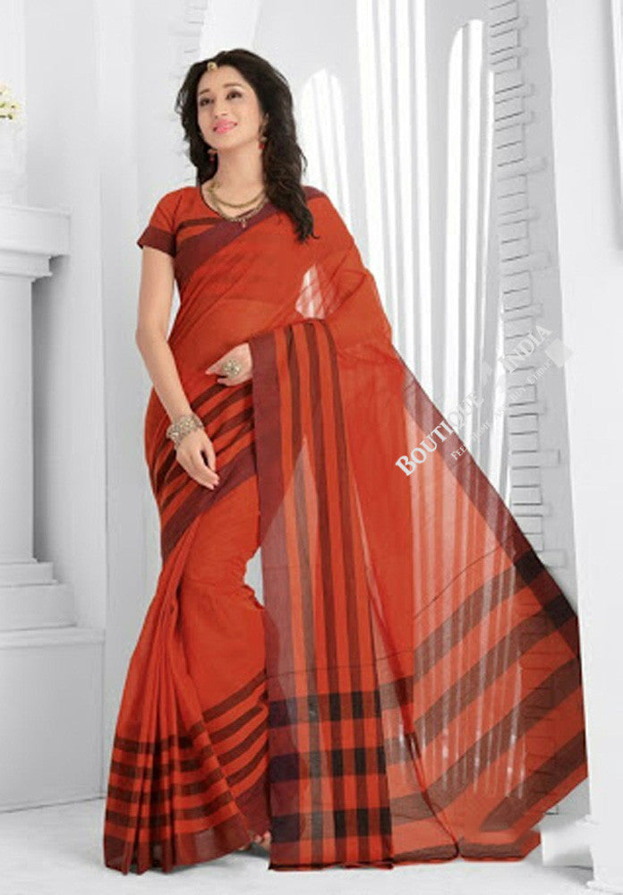 Trendy Cotton Silk Saree in Orangish Brown Shades - Boutique4India Inc.