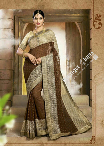 Sarees - Net and Chiffon with Cofee Brown and Golden - Boutique4India Inc.