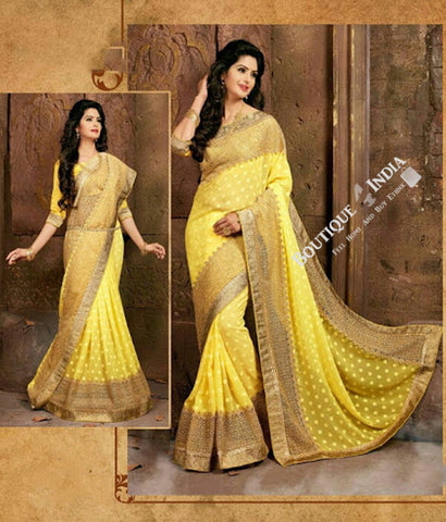 Sarees - Yellow and Light Brown Net and Embroided - Boutique4India Inc.