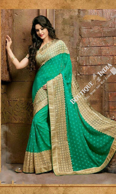 Sarees - Dark Green Net and Chiffon Unique Design - Boutique4India Inc.