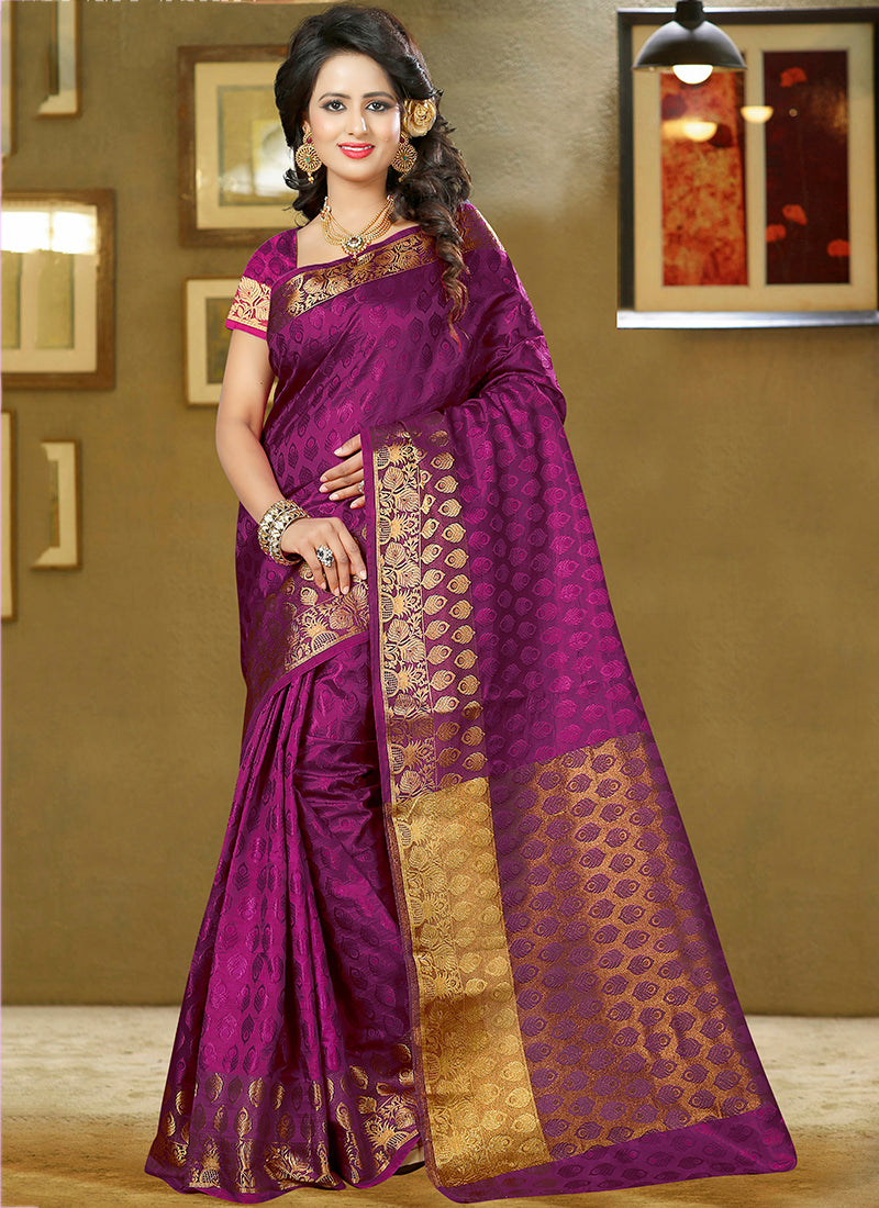 Magenta Art Silk and zari work Saree