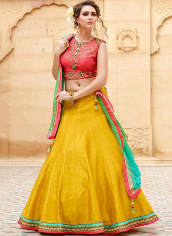 Yellow Banglori Silk Embroidered Wedding Lehenga Choli