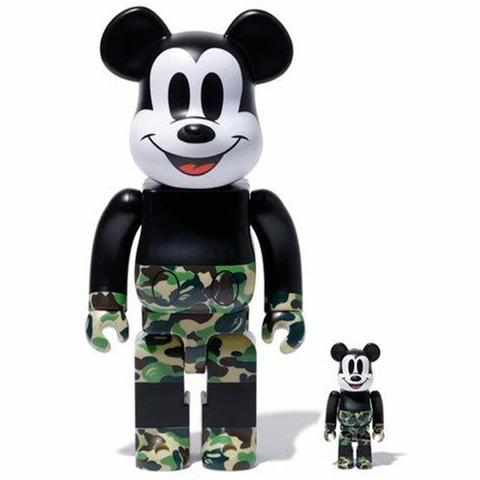BE@RBRICK BAPE(R) Mickey Mouse 100% & 400% Green - ActionCity
