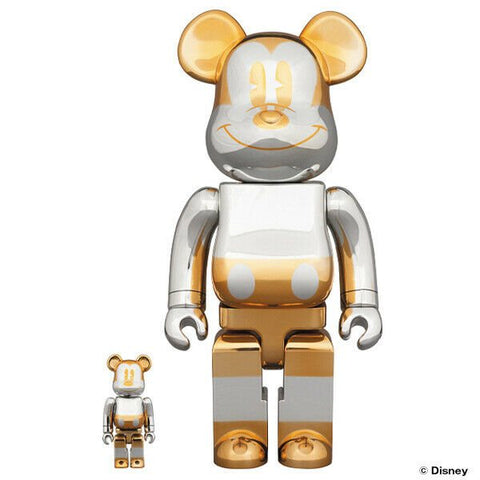 BE@RBRICK x Sorayama Future Mickey 100% & 400% Set Silver/Gold - ActionCity