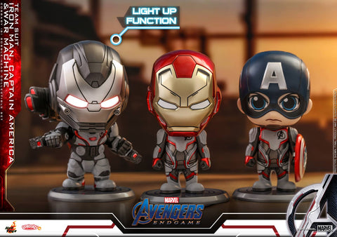 COSB549 - Avengers: Endgame - Cosbaby (S) Bobble-Head Series - Iron Man, Captain America, War Machine (Team Suit)