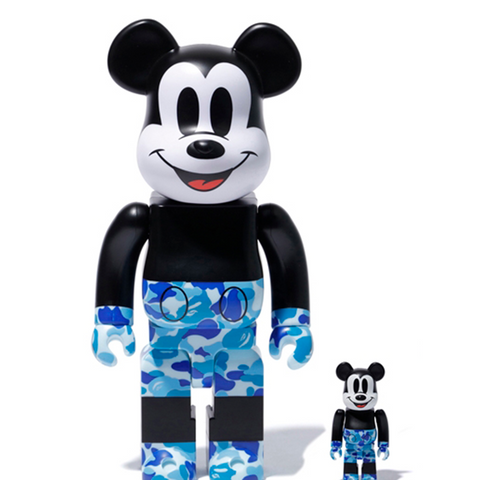 BE@RBRICK BAPE(R) Mickey Mouse 100% & 400% Blue - ActionCity