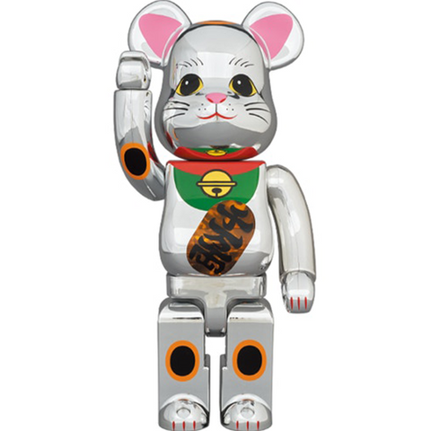 BE@RBRICK Manekineko Silver Plated Luminous 400%