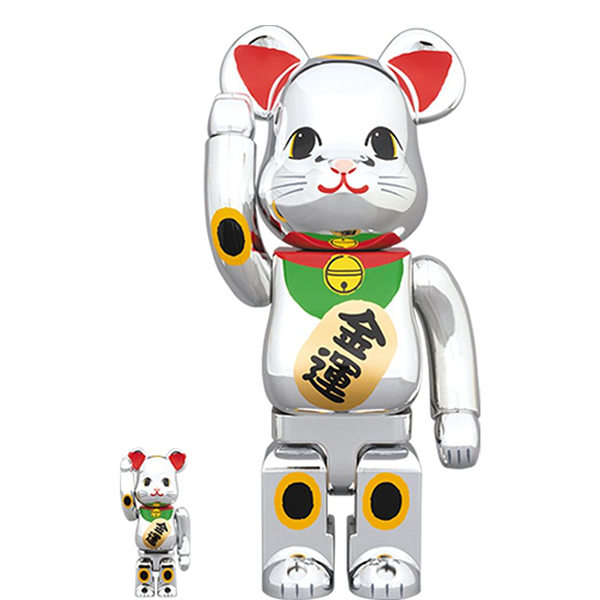BE@RBRICK Maneki Neko Silver Plating 100% & 400% - ActionCity