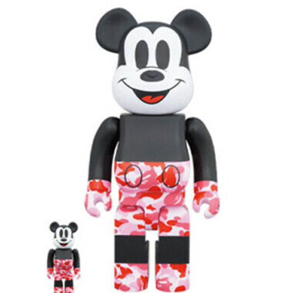 BE@RBRICK BAPE(R) Mickey Mouse 100% & 400% Pink - ActionCity