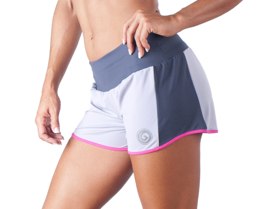 Look Lady Shorts - European Activewear - Grey/Fuchsia