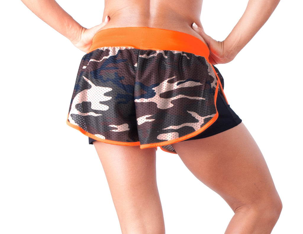 Orange Army Shorts - European Activewear - Orange/Military