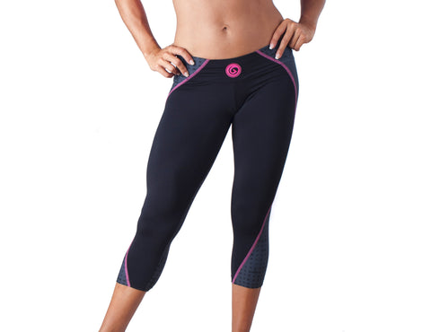 Flash Sport Capri - European Activewear - Black/Pink