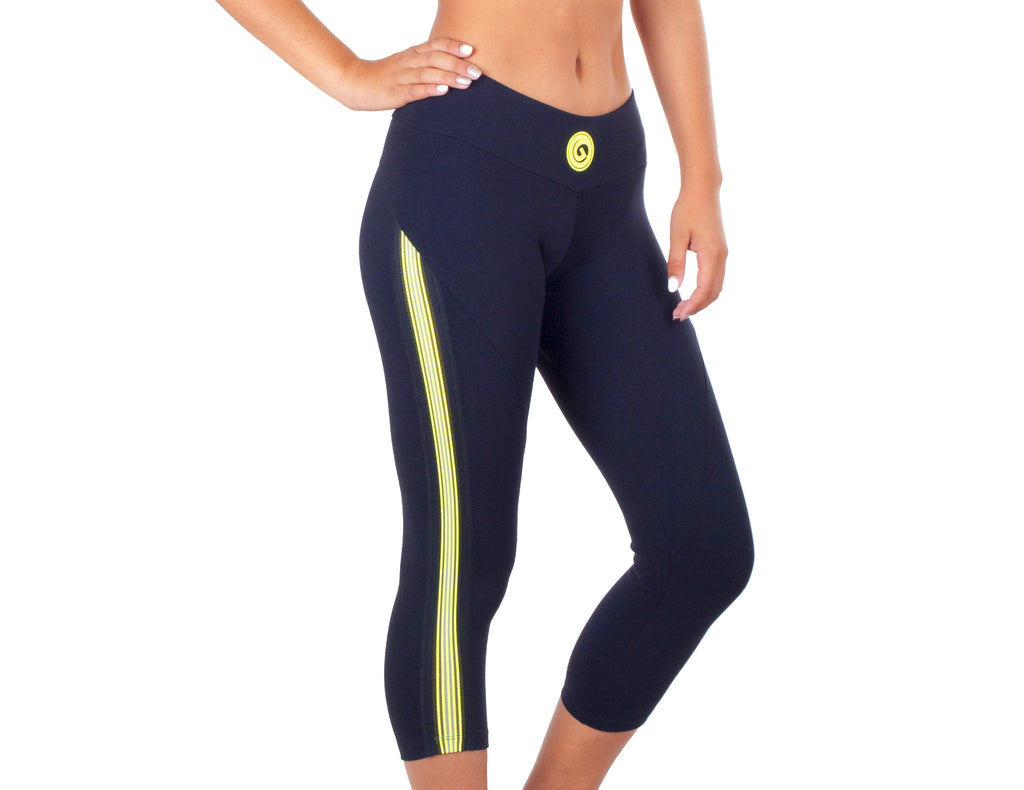 Power Fit Capri - European Activewear - Black/Yellow