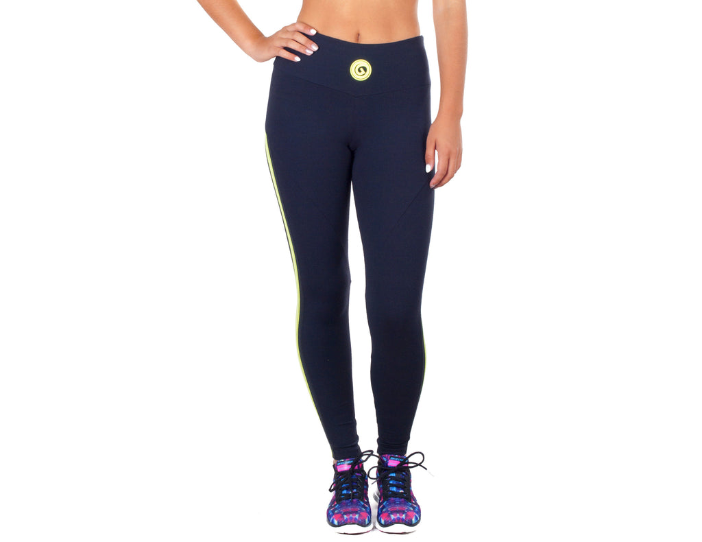 Power Fit Leggings - European Activewear - Black/Yellow
