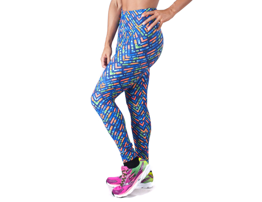 Electric Print Legging - European Activewear - Royal Blue