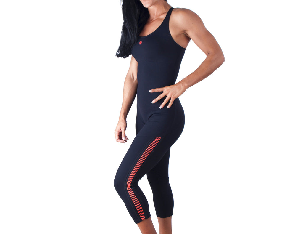 Power Fit Jumpsuit - European Activewear - Black/Red