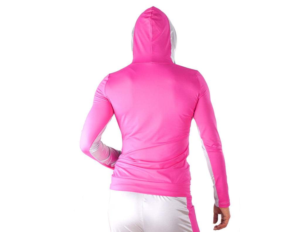 Look Lady Hooded SweatShirt - European Activewear - Silver/Fuchsia