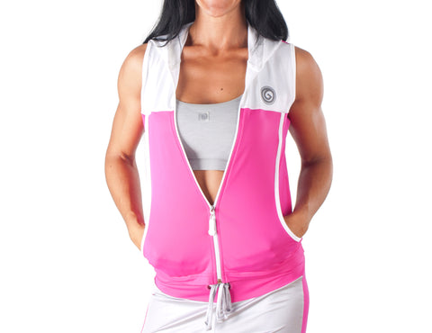 Look Lady Hooded Gilet - European Activewear - Fuchsia/White
