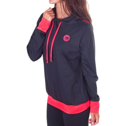 Power Fit Hooded SweatShirt - European Activewear - Black/Red