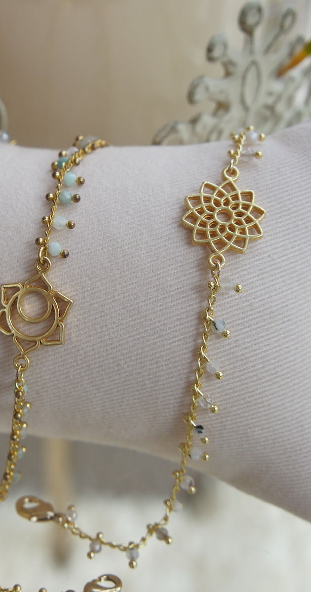 Bracelet gold Sunflower Howlite