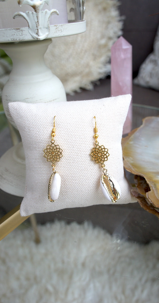 Gold sunflower earrings w/ shell