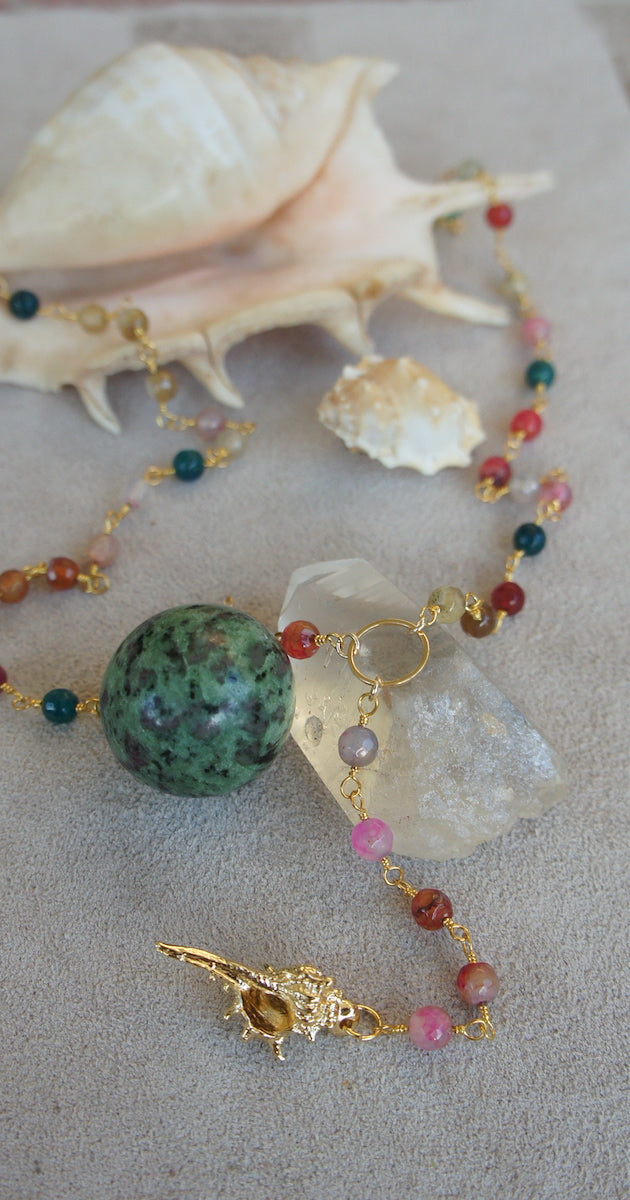 Multi colored crystal with gold shell