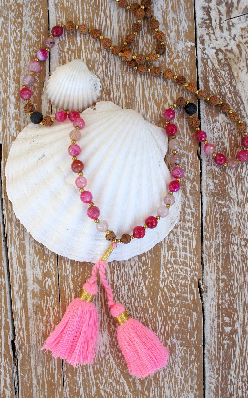 Agate Mala Beads Double Tassel