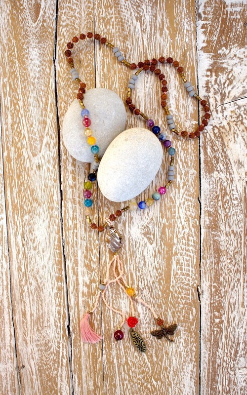 Agate Dragonfly Rose Mala