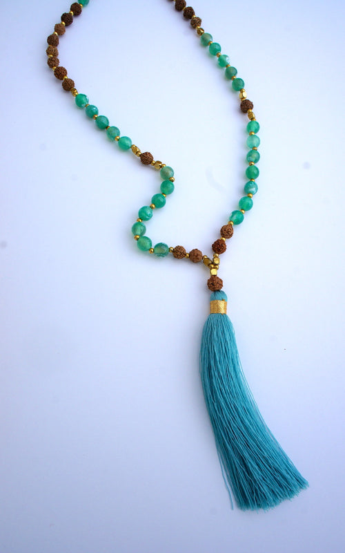 Agate Mala Beads Single Tassel