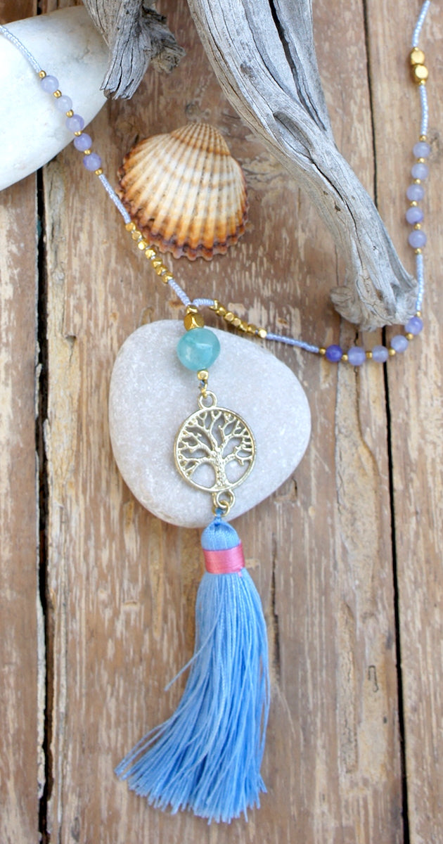 Necklace Gold Tree of Life Aghata beads