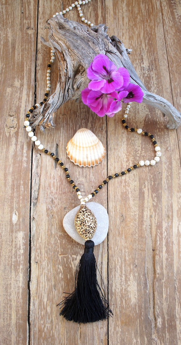 White Bead Aghata, Gold Ball & Tassel