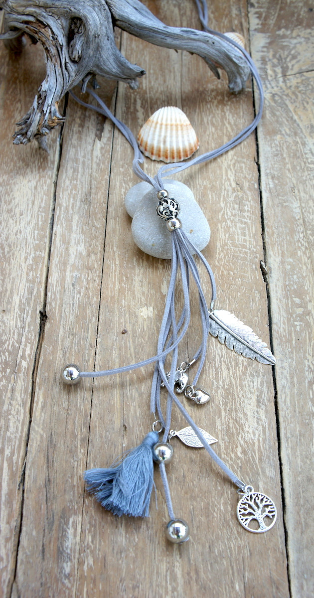 Suede Multistrap Silver Charm Necklace