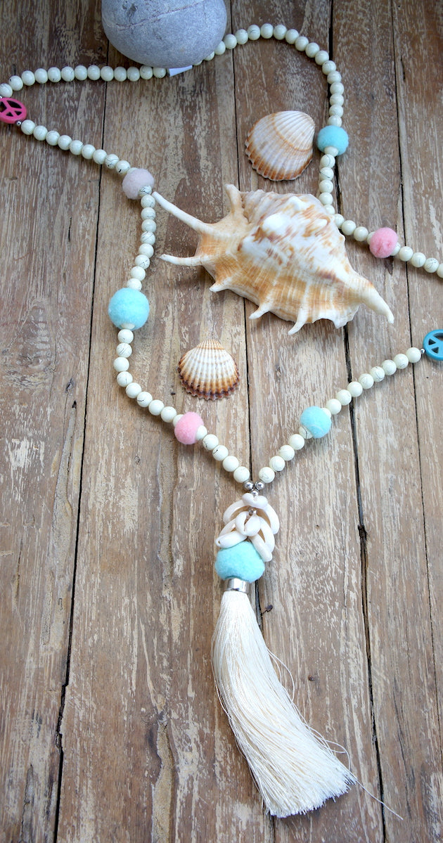 Wood Bead Necklace Pompom & big Tassel